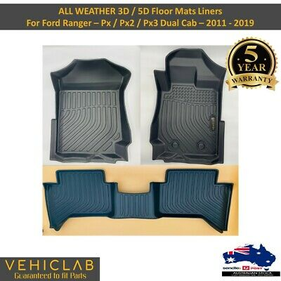 AU105 • Buy 3D TPE All Weather Floor Mats For Ford Ranger PX PX2 PX3 Dual Cab 2011-2019
