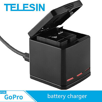 $ CDN25.23 • Buy TELESIN Battery Charger Three Slots Storage Boxes Adapter For GoPro Hero 5 6 7 8