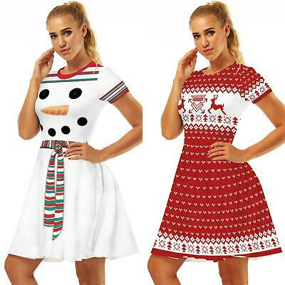 AU24.69 • Buy Women Lady Christmas Party Midi Swing Dress Short Sleeve Vintage Printed Clothes