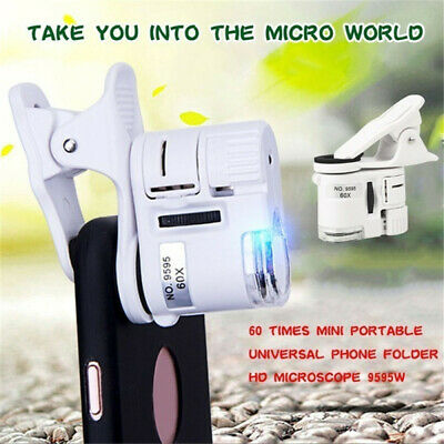 60X Zoom LED Digital Microscope Magnifier Micro Camera Len Clip For Mobile Phone • 5.49£