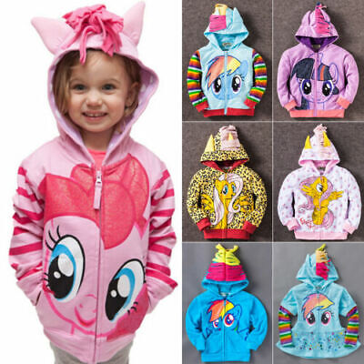 Kids Girls My Little Pony Hoodie Wings Jacket Twilight Rainbow Dash Sweater New/ • 12.99£
