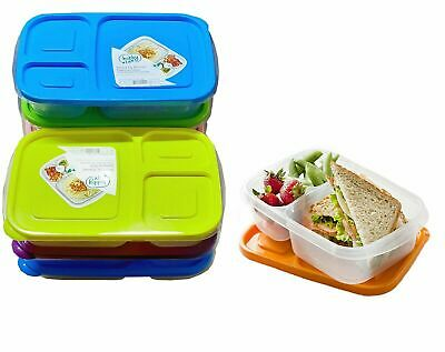 Set Of 4 Plastic Lunch Box Food Container Set Bento Lunch Boxes 3-Compartment • 8.49£