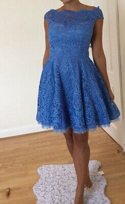 Blue Corded Lace Skater Fit And Flare Dress With Net Skirt  BNWT Size Small / 10 • 8.50£