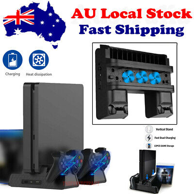 AU56.48 • Buy For PS4 Pro Vertical Slim Stand W/ Cooling Holder Game Fan Charging Charger Dock