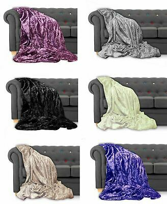 £14.99 • Buy Throw Over Bedspread Crushed Velvet New Sofa Or Bed Throw Or Cushion Cover