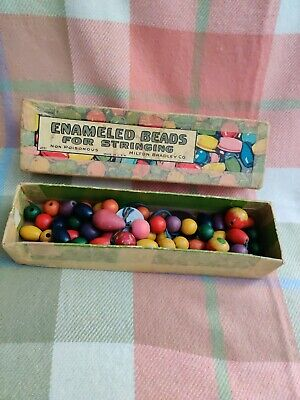 Vintage Wooden Beads For Stringing In Old Box (Milton Bradley Co Made In USA) • 1.99£
