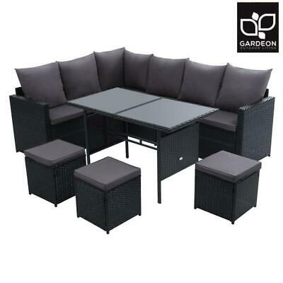 AU824.50 • Buy Gardeon Outdoor Furniture Dining Setting Sofa Set Lounge Wicker 9 Seater Black