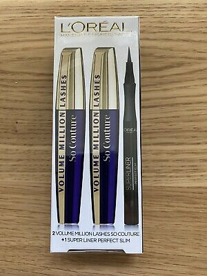 Loreal So Couture Volume Million Lashes Mascara X2 And Super Liner Perfect Slim • 18£