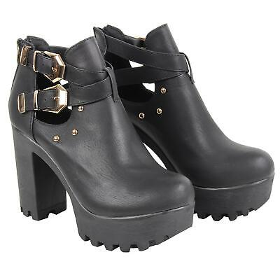 Women Ladies Chunky Sole High Heel Platform Ankle Buckle Studded Black Boots  • 11.24£