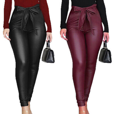 Ladies PU Jeans Look Stretch Skinny Long Length Pants Leather High Waist Jeans • 14.29£