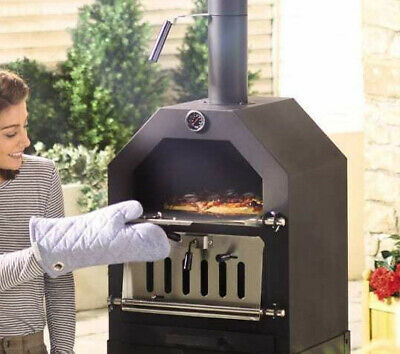 Pizza Oven / Grill Charcoal Wood Outdoor Garden Chimney BBQ Smoker Stone Baked • 185£