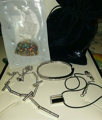 SWAROVSKI CRYSTAL JEWELLERY - NECKLACES X2 BRACELET AND BAG OF CRYSTALS  • 10£