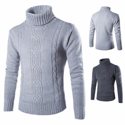 UK Mens Winter Warm Knitted Roll Turtle Neck Pullover Sweater Long Sleeve Jumper • 16.49£