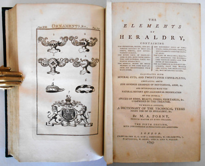1795 Porny ELEMENTS HERALDRY Genealogy Arms Blazoning Dictionary Terms 24 Plates • 8£