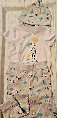 Primark Denim Co Baby Outfit Vest Trousers And Hat Rainbow Design 6-9 Months • 3.50£