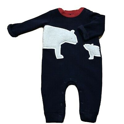 Gap 6-12 Months Fleece Body Pram Suit Polar Bear Babygro Unisex Boys • 0.99£