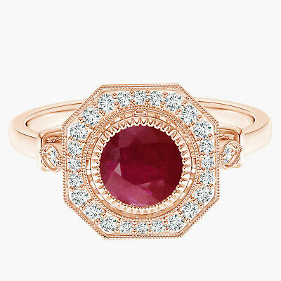 AU423.66 • Buy 6 MM Round Ruby With Simulated Diamond Accents Promise Ring 9k Rose Gold