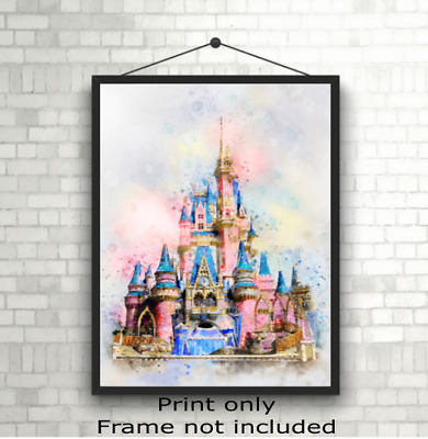 Disney Princess Castle Children's Bedroom Wall Art Print Picture Gift A5 A4 A3 • 3.49£