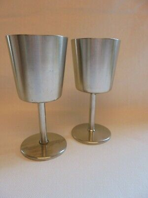 Pair Old Hall Stainless Steel Wine Glass Goblet Vintage Retro • 7.99£