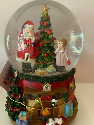 Gisela Graham Christmas Tree & Girl Fireplace Musical Snow Globe Dome Ornament • 29.99£