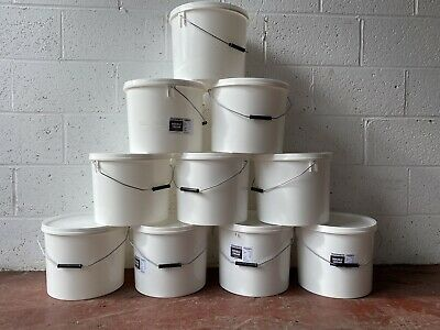 Bulk Buy 10 White Plastic Bucket Container Tub Pail With Lid Food Grade 20 Litre • 29.99£