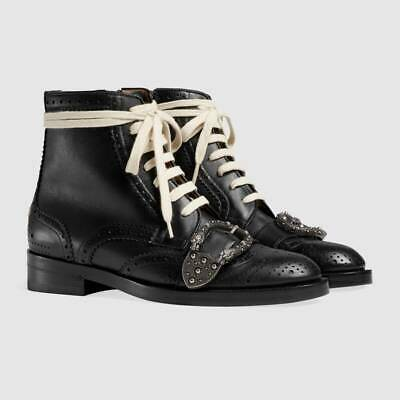 Gucci Dionysus Queercore Punk Brogue Women's Boots Black Leather Bee 496617 1322 • 595£