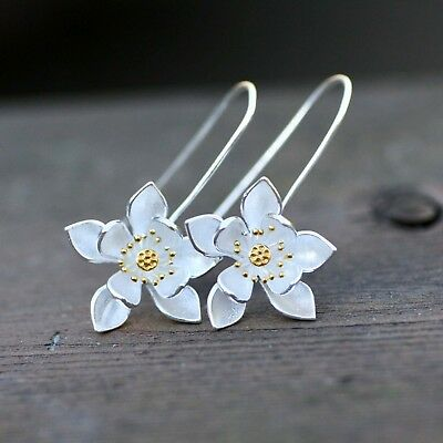 $49.13 • Buy Handmade Magnolia Flower Earrings Sterling Silver 925 , Two Tone From Canada