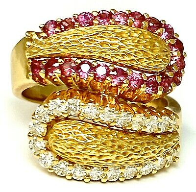 Massive 18K Yellow Gold Diamond Ruby Textured Bypass Yin Yang Vintage Ring • 1,168.52£