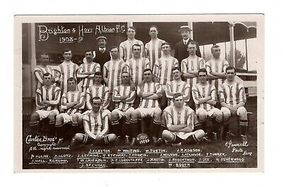 Brighton & Hove Albion Fc Team Football Postcard 1908/9 Carter Bros Pannell • 14.99£