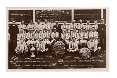 Brighton & Hove Albion Fc Football Team Photo Rp Postcard 1910/11 Carter Bros • 12.99£