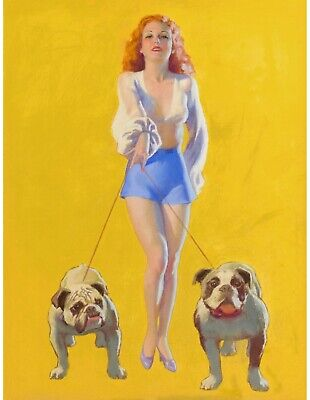 £28 • Buy PinUp Girl Pin-Up With Bulld Poster Canvas Picture Art Movie Car Game Film Print