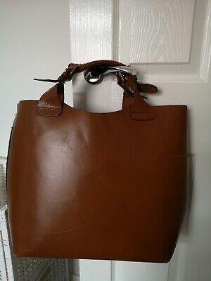 ZARA Original Tan Buffalo Leather Large Bucket Shopper Tote Bag With Strap • 45£