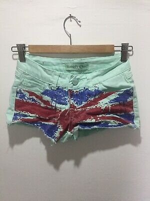 Turquoise Xs Union Jack Shorts Hot Pants Sequins • 0.99£
