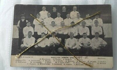 Preston North End Football Club Team 1909-10 Photo R Scott Co & Printed Postcard • 19.99£