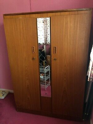 G Plan Vintage Retro Wardrobe And Mirror Style Teak Lockable With Keys  • 99.99£