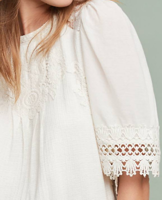$ CDN99.34 • Buy NEW ANTHROPOLOGIE Armana Lace Trimmed Embroidered White Blouse Large Pet