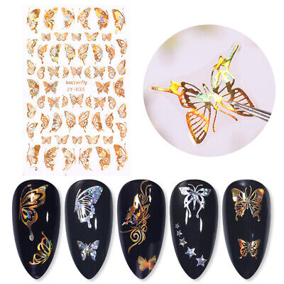 3D Nail Stickers Gold Holographics Butterfly Maple Leave Decals Nail Art Decor • 2.69£