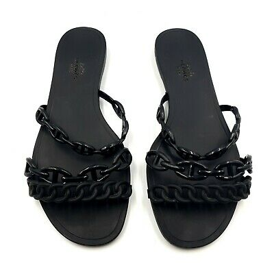AU219.95 • Buy Hermes Size 38 Black Chain 3-Strap Rivage Jelly Rubber Flats Sandals