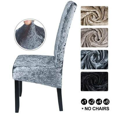 Crushed Velvet Dining Chair Covers Stretchable Protective Slipcover  Home Decor • 6.89£