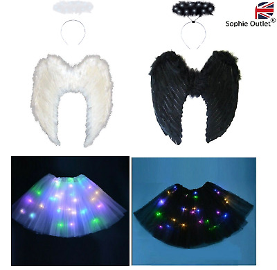 LED HALO DEVIL FAIRY WINGS Adult Angel Tutu Costume Fancy Dress Halloween Party • 10.50£