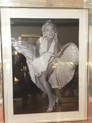Marilyn Monroe Picture Dancing Crystals /liquid Art And Mirror Frame 96x76 • 159.99£