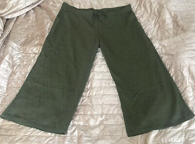 Ladies George Khaki Geeen Linen Cropped Trousers Wide Leg Pants Size 24 W46 L25 • 3.99£