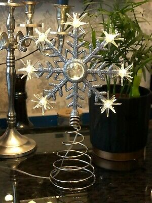 LED Christmas Snowflake Tree Topper Diamante Star Up Warm White Xmas Lights 25cm • 14.99£