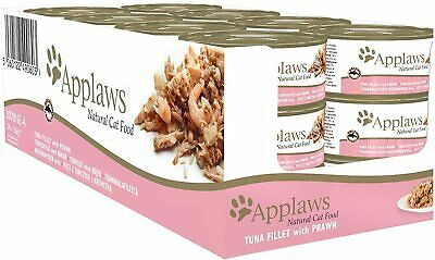 Applaws Natural Wet Cat Food, Tuna Fillet With Prawn, 24 X 156g Cans • 33£