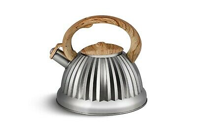 Whistling Kettle 3 L Stove Top Induction Gas Ceramic Electric Brown Silver Satin • 20.77£