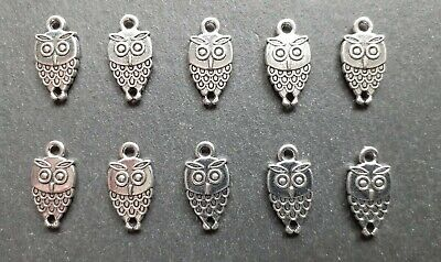 10 X Little Owl Charms, Bird Charms, Craft Charms, Jewellery Making, UK Seller • 3.35£