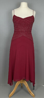 Debut Uk10 Dark Red Fit & Flare Dress Silver Beads High Low Hemline Occasion Tag • 34.99£