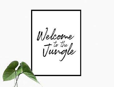 Welcome To The Jungle Quote Poster Print A4 Typography Wall Art Kids Room Decor • 5.99£