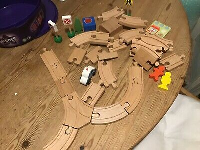 £7.80 • Buy Bundle Of Wooden Track/signs/figures And A Car