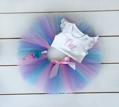 AU45 • Buy Pink, Blue & Lavender 3 Piece First Birthday Outfit Cake Smash Outfit Baby Girl